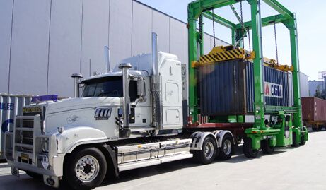 Container truck loaded for national transport in Australia.